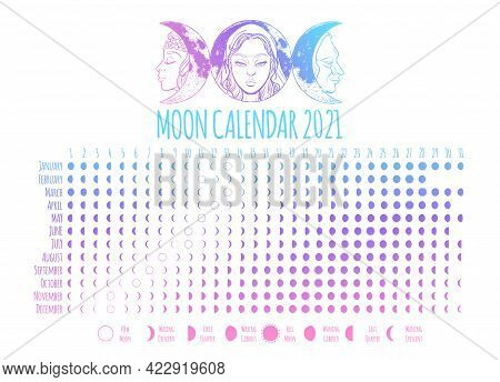 Moon Calendar, 2021 Year, Lunar Phases, Cycles. Design Illustrated With Triple Goddess Symbol: Maide