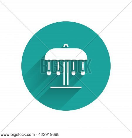 White Attraction Carousel Icon Isolated With Long Shadow. Amusement Park. Childrens Entertainment Pl