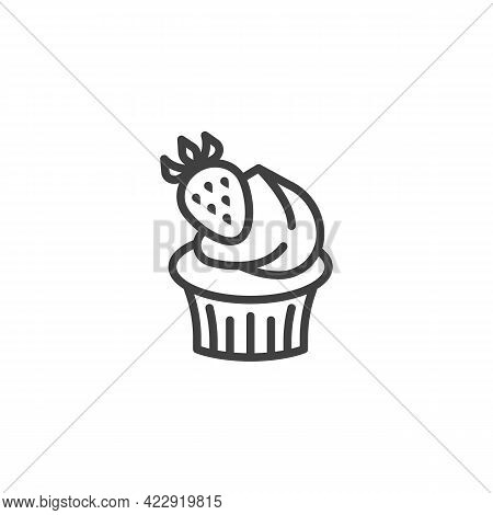 Cupcake With Strawberry Line Icon. Linear Style Sign For Mobile Concept And Web Design. Creamy Cupca