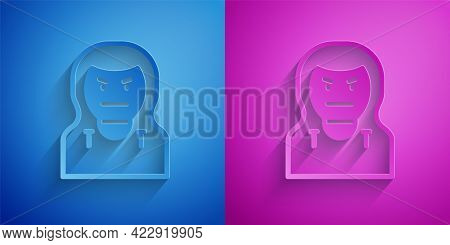 Paper Cut Thief Mask Icon Isolated On Blue And Purple Background. Bandit Mask, Criminal Man. Paper A