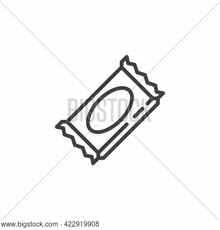 Wrapped Candy Line Icon. Linear Style Sign For Mobile Concept And Web Design. Caramel Candy Outline
