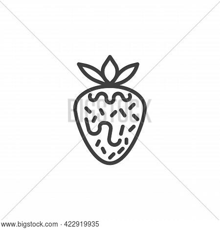 Strawberry With Chocolate Line Icon. Linear Style Sign For Mobile Concept And Web Design. Strawberry