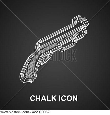 Chalk Police Shotgun Icon Isolated On Black Background. Hunting Shotgun. Vector