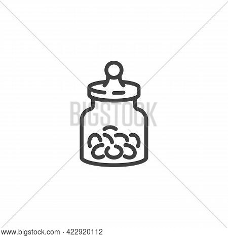 Candies Jar Line Icon. Linear Style Sign For Mobile Concept And Web Design. Jar With Candy Snack Out