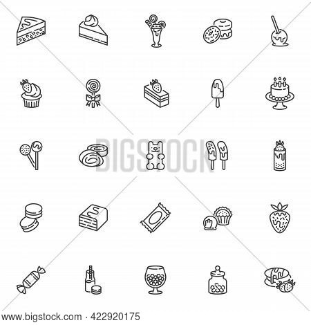 Sweets And Candy Line Icons Set. Linear Style Symbols Collection, Outline Signs Pack. Dessert Sweets