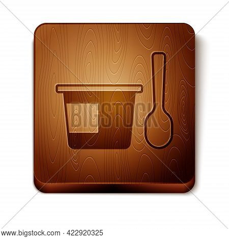 Brown Yogurt Container With Spoon Icon Isolated On White Background. Yogurt In Plastic Cup. Wooden S