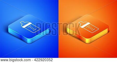 Isometric Baby Milk In A Bottle Icon Isolated On Blue And Orange Background. Feeding Bottle Icon. Sq
