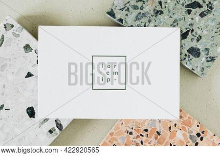White card on granite tiles template