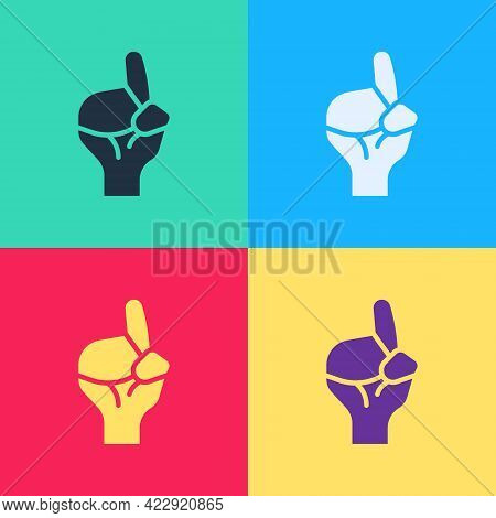 Pop Art Hands In Praying Position Icon Isolated On Color Background. Praying Hand Islam Muslim Relig