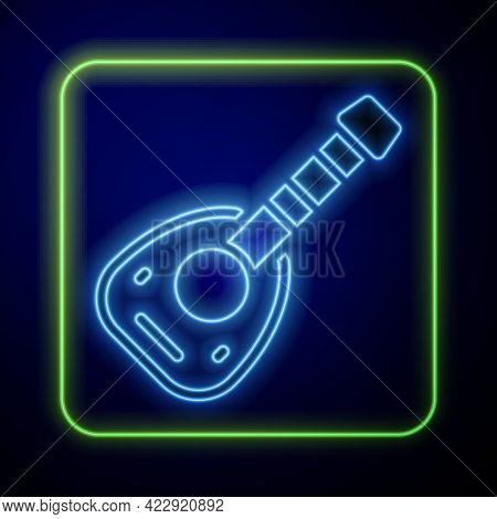Glowing Neon Musical Instrument Lute Icon Isolated On Blue Background. Arabic, Oriental, Greek Music