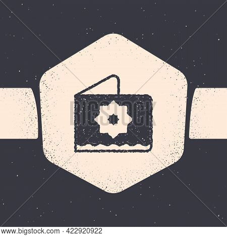 Grunge Islamic Octagonal Star Ornament Icon Isolated On Grey Background. Monochrome Vintage Drawing.