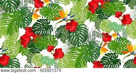 Tropical Seamless Pattern With Bright Exotic Jungle Lush Branches Palm, Monstera Leaves, Hibiscus Fl
