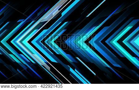 Abstract Blue Grey Black Metallic Arrow Circuit Cyber Geometric Direction Pattern Design Modern Futu