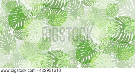 Tropical Seamless Pattern With Colorful Exotic Leaves. Trendy Flat Jungle Lush Branches Botanical Pl
