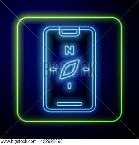 Glowing Neon Compass Screen Apps On Smartphone For Navigation Icon Isolated On Blue Background. Appl