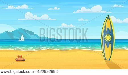 Surf Board On A Sandy Beach. Cartoon Summer Beach. Paradise Nature Vacation, Ocean Or Sea Seashore.