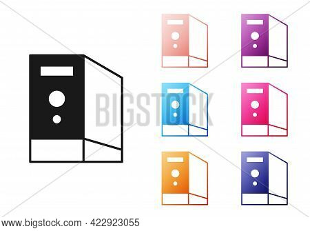 Black Case Of Computer Icon Isolated On White Background. Computer Server. Workstation. Set Icons Co