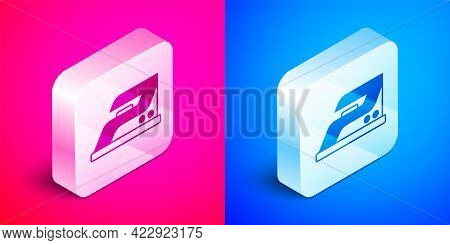 Isometric Electric Iron Icon Isolated On Pink And Blue Background. Steam Iron. Silver Square Button.