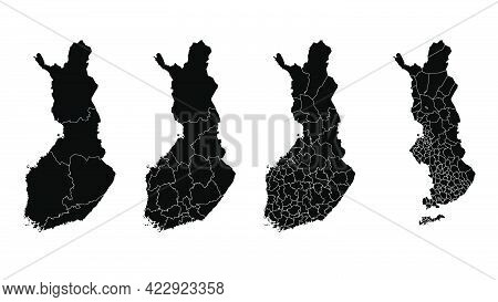 Finland Map Municipal, Region, State Division. Administrative Borders, Outline Black On White Backgr