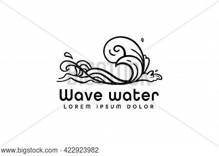 Ocean Logo, Great Wave Logo Vector Illustration Design Graphic, Modern Monoline Style Ocean Waves Lo