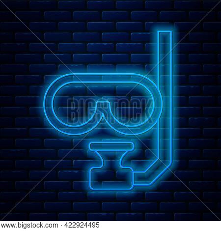 Glowing Neon Line Diving Mask And Snorkel Icon Isolated On Brick Wall Background. Extreme Sport. Div