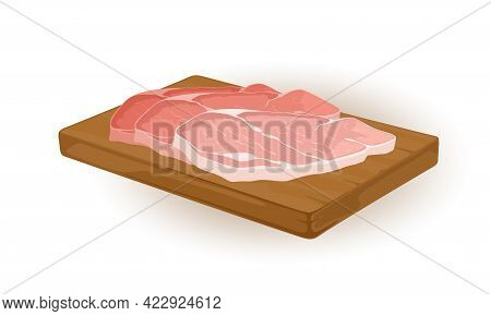Uncooked Meat Pieces On Wooden Board, Ingredient For Further Cooking. Vector Semi Finished Product,