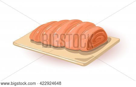 Fresh Meat Cut, Raw Uncooked Product Wrapped In Culinary Thread. Vector Nutritious And Fat Dish On W