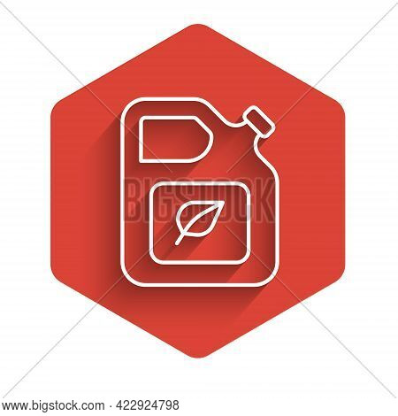 White Line Bio Fuel Canister Icon Isolated With Long Shadow. Eco Bio And Barrel. Green Environment A