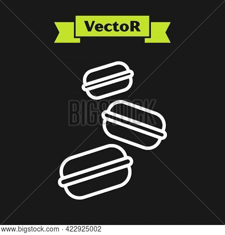 White Line Macaron Cookie Icon Isolated On Black Background. Macaroon Sweet Bakery. Vector