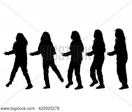 Young people are dancing in a nightclub. Isolated silhouettes on white background