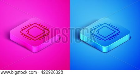 Isometric Line Computer Processor With Microcircuits Cpu Icon Isolated On Pink And Blue Background.