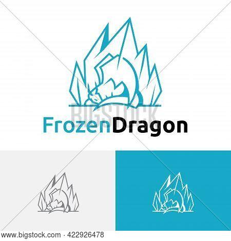 Sleeping Frozen Ice Iceberg Dragon Logo Design