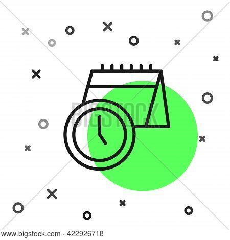 Black Line Calendar And Clock Icon Isolated On White Background. Schedule, Appointment, Organizer, T