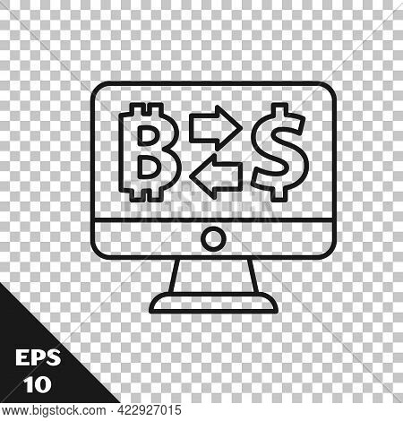 Black Line Cryptocurrency Exchange Icon Isolated On Transparent Background. Bitcoin To Dollar Exchan