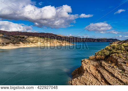 Embalse De Negratin Reservoir Lake In Sierra Nevada National Park, Andalusia In Spain