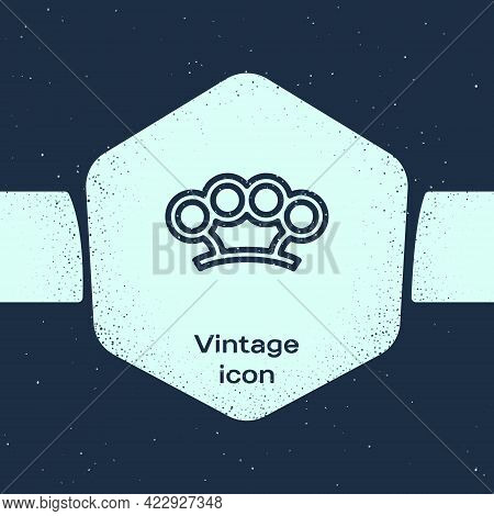 Grunge Line Brass Knuckles Icon Isolated On Blue Background. Monochrome Vintage Drawing. Vector