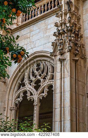 Gothic Atrium Of Monastery Of San Juan De Los Reyes In The Old City Of Toledo, Spain, Unesco World H