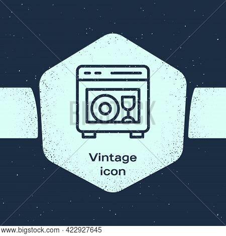 Grunge Line Kitchen Dishwasher Machine Icon Isolated On Blue Background. Monochrome Vintage Drawing.