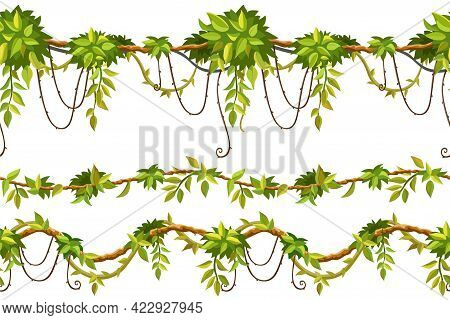 Ivy Seamless Borders. Set Liana Branches And Tropical Leaves. Game Cartoon Elements Of Creeper Jungl