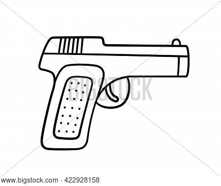 Hand Drawn Gun. Children Drawing Of Combat Pistol. Vector Illustration In Doodle Style On White Back