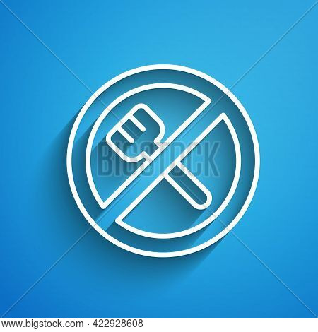 White Line Ramadan Fasting Icon Isolated On Blue Background. Religious Fasting. Long Shadow. Vector