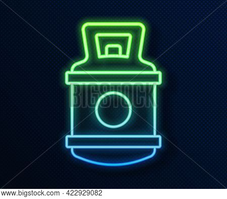 Glowing Neon Line Propane Gas Tank Icon Isolated On Blue Background. Flammable Gas Tank Icon. Vector
