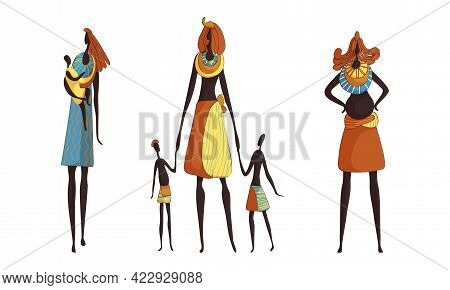 Slender African Woman Wearing Traditional Tribal Clothing And Necklace Carrying Baby Vector Set