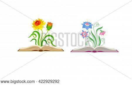 Open Book With Different Fabulous Flowers And Buds Vector Set