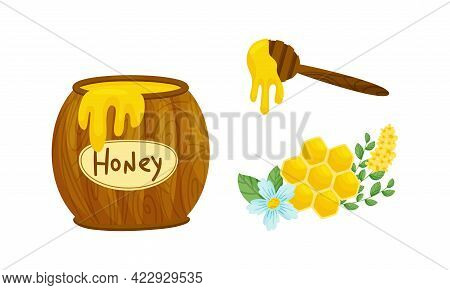 Wooden Barrel With Honey And Honeycomb With Fragrant Blossom Vector Set