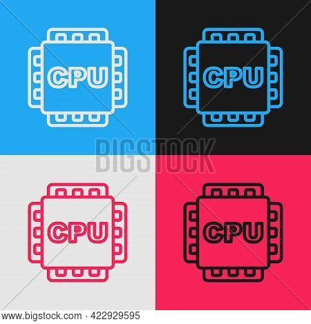Pop Art Line Computer Processor With Microcircuits Cpu Icon Isolated On Color Background. Chip Or Cp