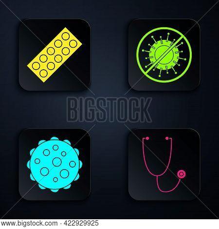 Set Stethoscope, Pills In Blister Pack, Virus And Stop Virus. Black Square Button. Vector