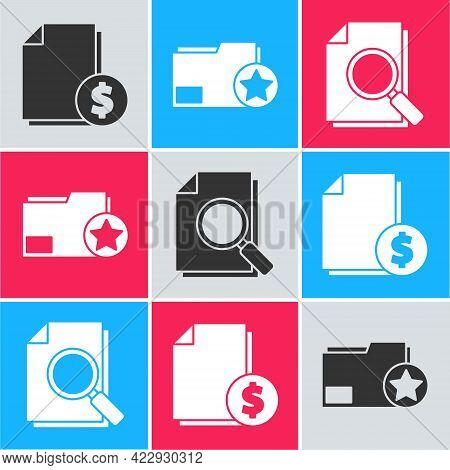 Set Finance Document, Document Folder With Star And Document With Search Icon. Vector