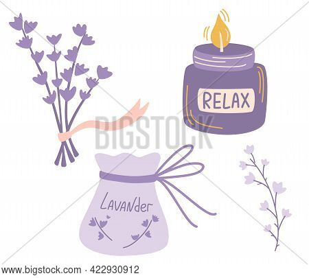 Lavender Set Of Different Elements. Sachet With Lavender And Aroma Candle.  Medicinal Plants Bouquet