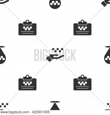 Set Location With Taxi, Hand And Taxi Driver License On Seamless Pattern. Vector